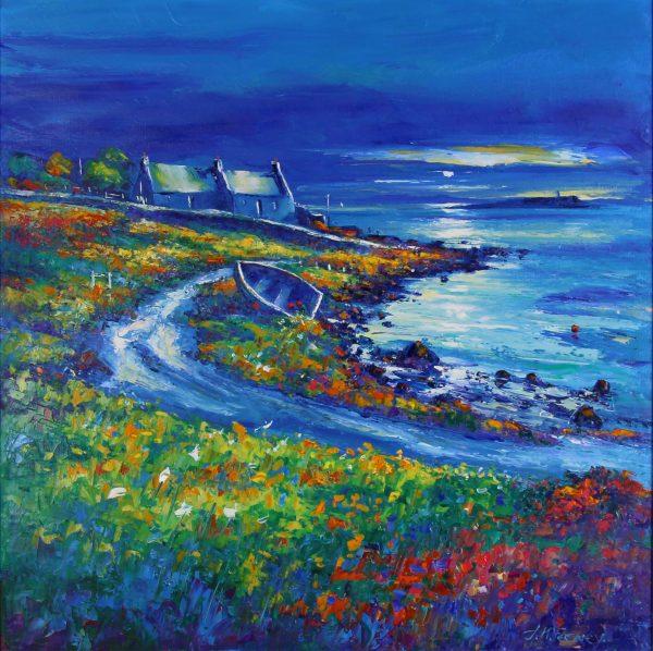 Jean Feeney_Moonlight Over Pladda, Isle of Arran_Oils_24x24