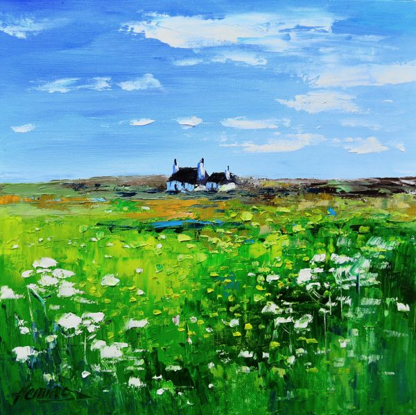 Kevin Fleming_.Summer, Cottage with Wildflowers, near Balephetrish, Tiree. canvas size 12x12, oils, 299