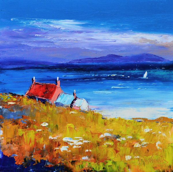 Kevin Fleming_Ardionra Croft, Traigh Ban, Iona. canvas size 12x12, oils, 299