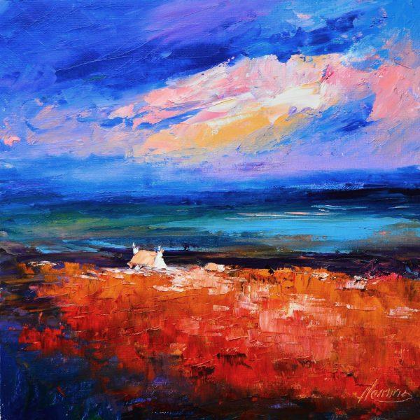 Kevin Fleming_Atlantic Sunset, Rhinns of Islay. canvas size 12x12, oils, 299