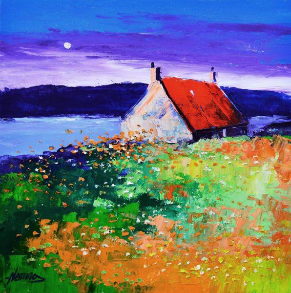 Kevin Fleming_Autumn Moon, Cottage near Tarbert, Harris. canvas size 12x12, oils, 299