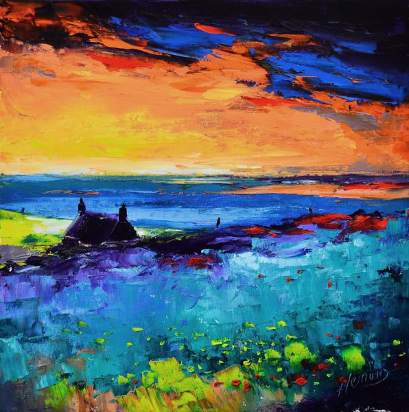 Kevin Fleming_Autumn Sunset, Harris. canvas size 12x12, oils, 299