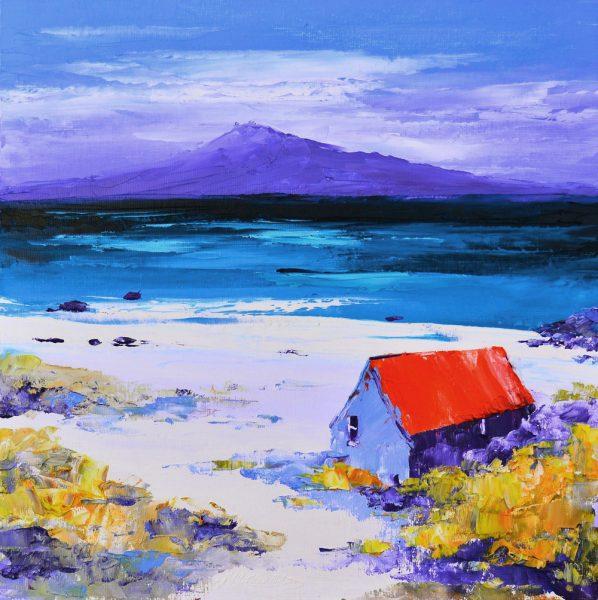 Kevin Fleming_Bothy on the Shore, Luskentyre Harris, towards Taransay. canvas size 12x12, oils, 299