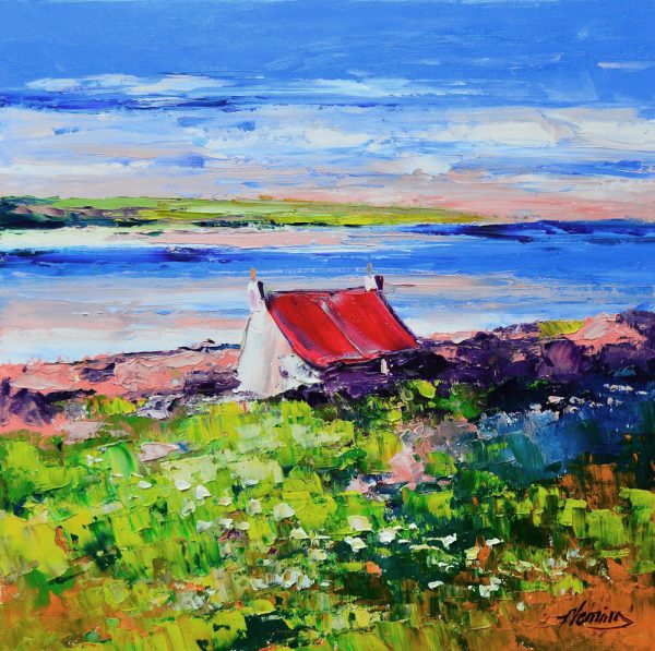 Kevin Fleming_Cottage at Loch Gruinart, Islay. canvas size 12x12 oils, 299