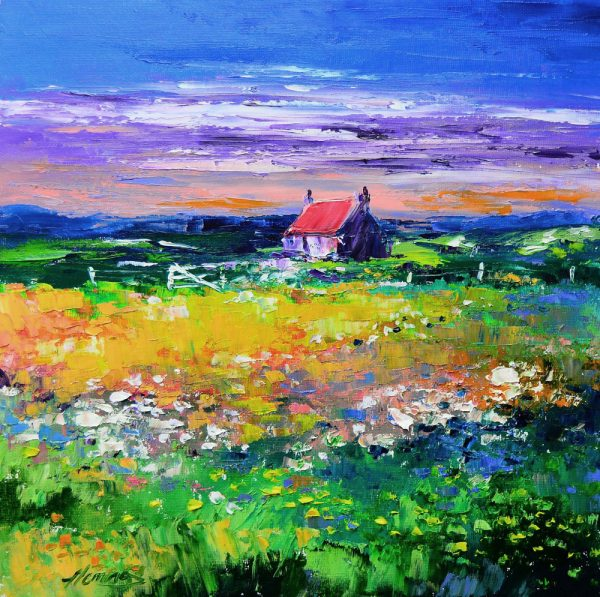 Kevin Fleming_Cottage at Sunset, Gruinart, Islay. canvas size 12x12 oils, 299