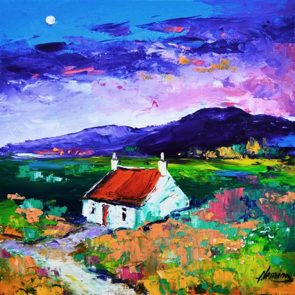 Kevin Fleming_Cottage with Autumn Moon, Luskentyre, Harris. canvas size 12x12 oils, 299