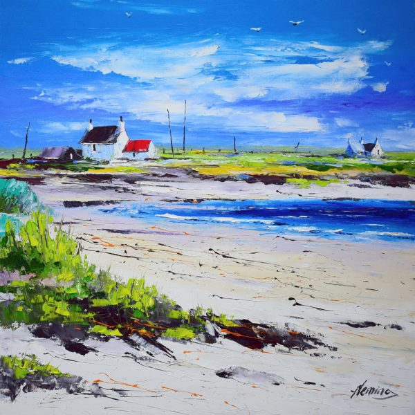 Kevin Fleming_Cottages on the Shore, Summer Light, Gott Bay, Tiree. canvas size 20x20, oils, 799