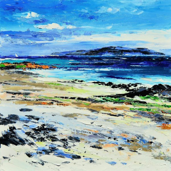 Kevin Fleming_Distant Sail, Traigh Ban, Iona. canvas size 12x12 oils, 299