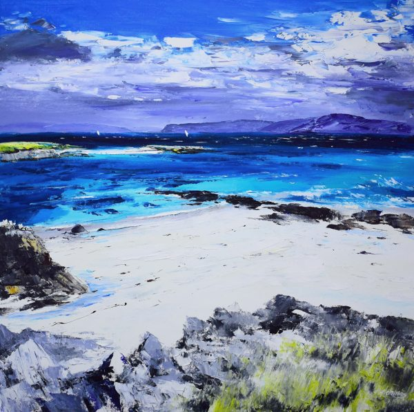 Kevin Fleming_Distant Sails, from North End, Iona. canvas size 24x24 oils, 1,099