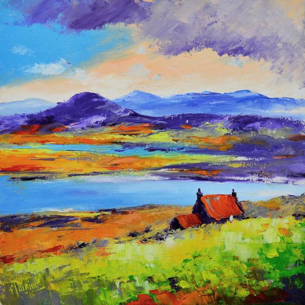 Kevin Fleming_Early Autumn, Hills of North Harris from Lewis. canvas size 12x12 oils, 299