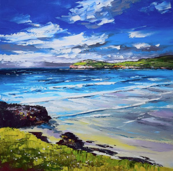 Kevin Fleming_Early Autumn Light, Cliff Beach, Lewis. canvas size 20x20 oils, 799