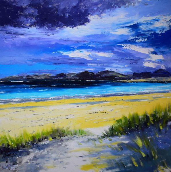 Kevin Fleming_Early Autumn Light, Luskentyre Harris. canvas size 24x24, oils, 1,099
