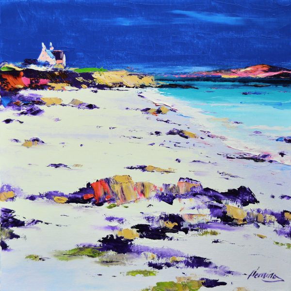 Kevin Fleming_Evening Light, Bishop's House, from St. Ronan's Bay, Iona. canvas size 12x12 oils, 299