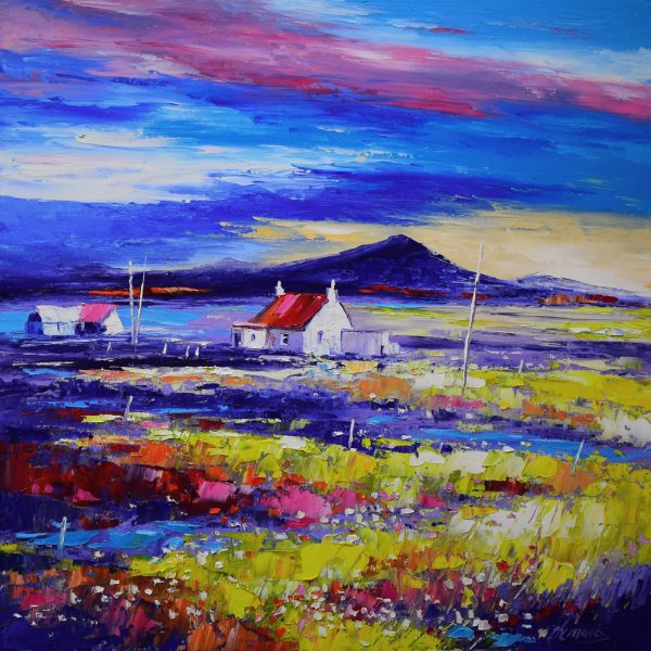 Kevin Fleming_Evening Light with Cottages, North Uist. canvas size 20x20, oils, 799