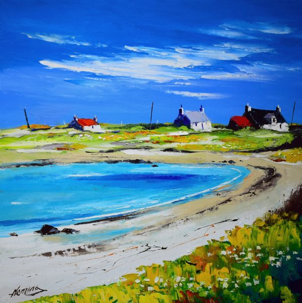 Kevin Fleming_Late Summer, Balephetrish Bay, Tiree. canvas size 20x20, oils, 799