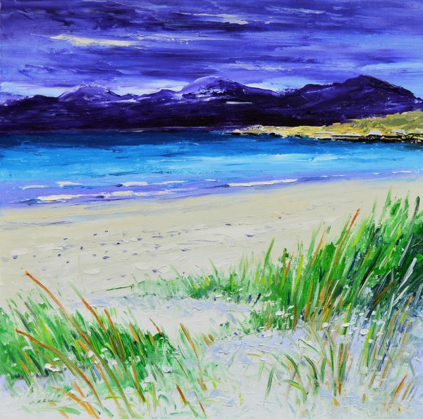 Kevin Fleming_Late Summer, Luskentyre Beach, Harris. canvas size 12x12, oils, 299