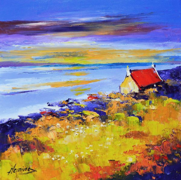 Kevin Fleming_Loch Gruinart Sunset, Islay. canvas size 12x12, oils, 299
