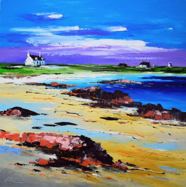 Kevin Fleming_On the Shore, Summer, Gott Bay, Tiree. canvas size 16x16, oils, 499