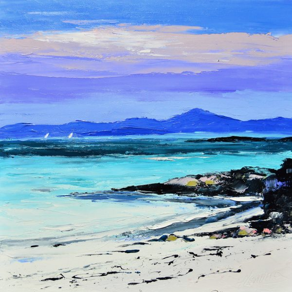 Kevin Fleming_Sails off Port Ruadh, Tiree. canvas size 12x12, oils, 299