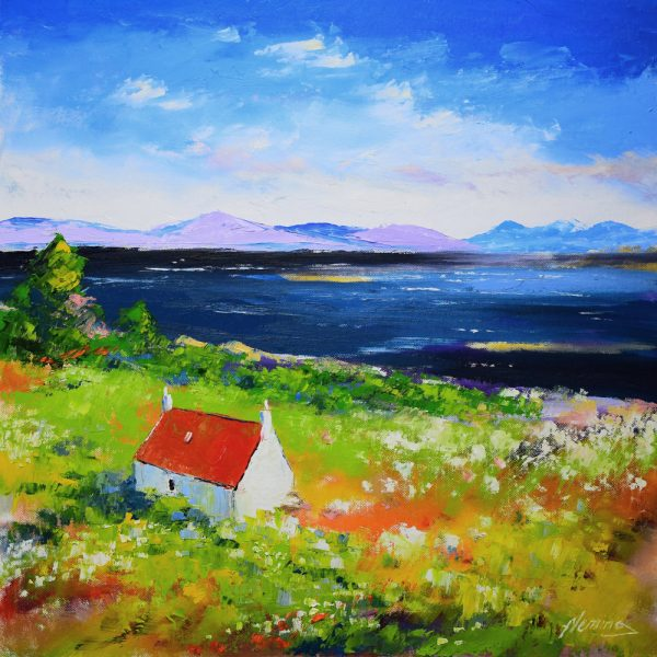 Kevin Fleming_September, Lochside Cottage, Shieldaig, Torridon. canvas size 20x20, oils, 799