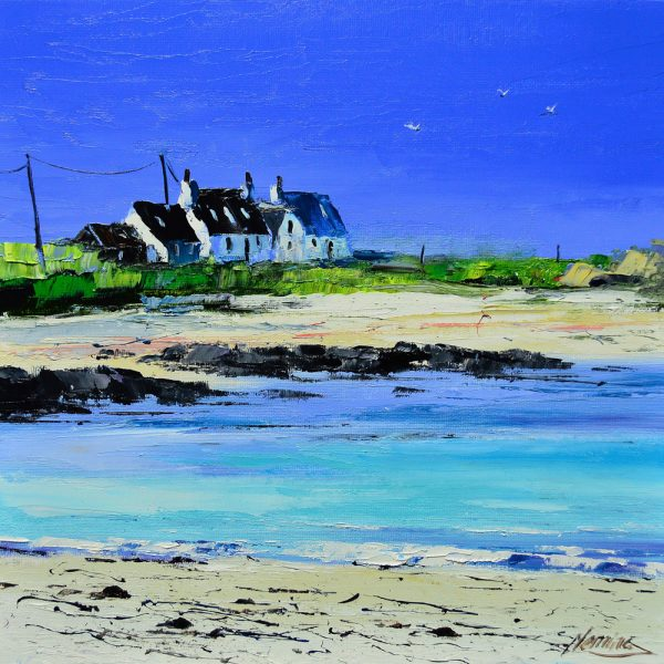 Kevin Fleming_Summer Light, Cottages at Balephetrish, Tiree. canvas size 12x12, oils, 299