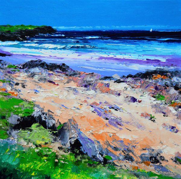 Kevin Fleming_Summer Sail, Saligo Bay, Islay. canvas size 12x12, oils, 299