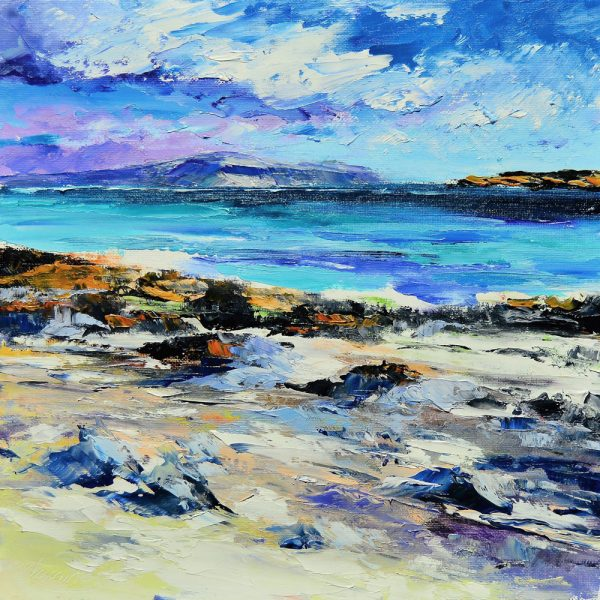Kevin Fleming_The Burg, Mull, from Traigh Ban, Iona. canvas size 12x12, oils, 299