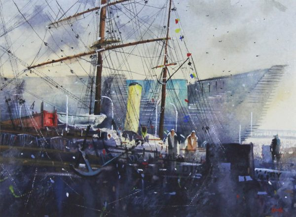 Graham Wands_Watercolour_RRS Discovery and V&A_14x19