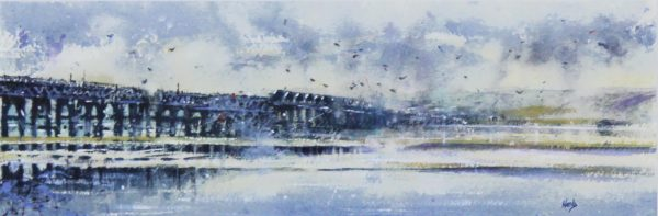 Graham Wands_Watercolour_Tay Rail Bridge_6.5x19