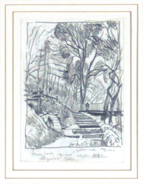 James Mcintosh Patrick OBE RSA_Alyth Den_Pencil_Signed_Size 5.25x4_16.5x14_450 unframed