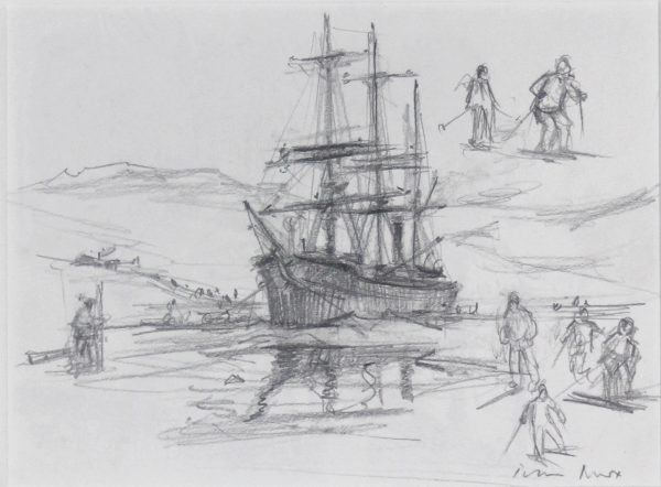 Peter Knox_Original Discovery Sketch_Signed_8.5x11_19x21_unframed
