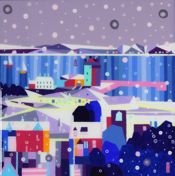 Ross Grant Thompson_Acrylic and Resin_Snow on Castle Green_20x20_24.5x24.5_unframed