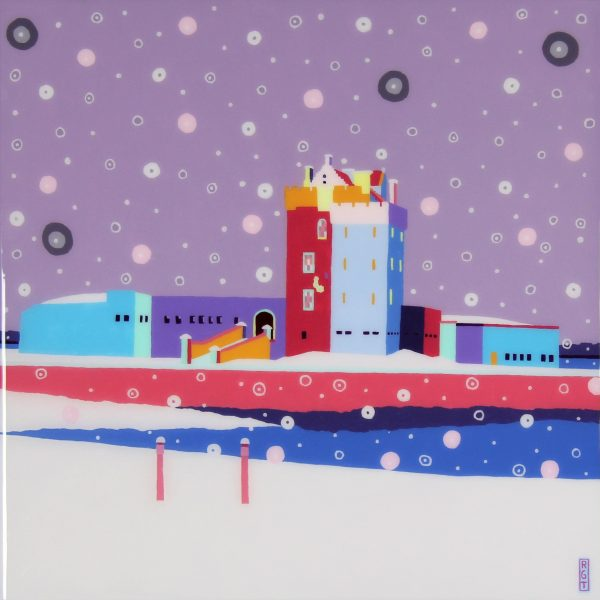 Ross Grant Thompson_Acrylic and Resin_Snow on Castle and Harbour_20x20_24.5x24.5_unframed