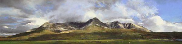 FIONA HALDANE_ORIGINAL_12x48_Skye Pastures, Cuillins, Skye