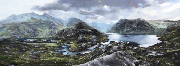 FIONA HALDANE_ORIGINAL_18x48_Hidden Loch, Loch Coruisk, Skye