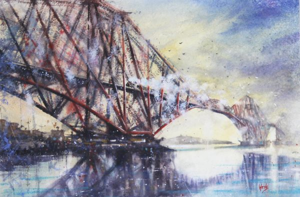 GRAHAM WANDS_20x29_29X38.5_'Forth Rail Bridge'_Watercolour_unframed