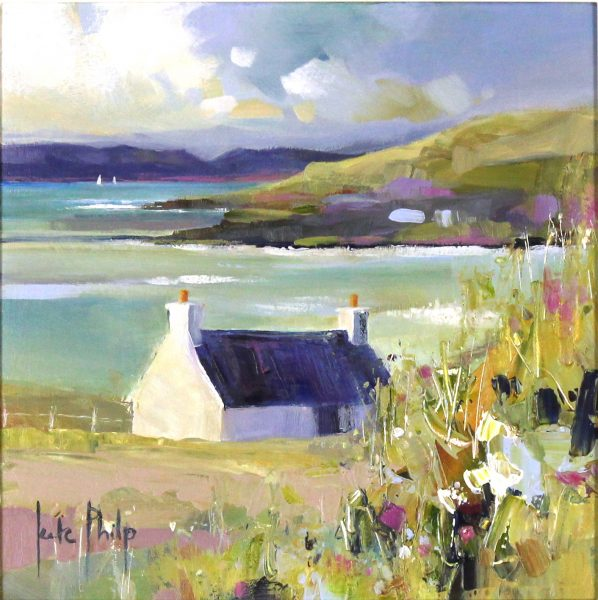 Kate Philp_Original_Cottage Near Calgary, Mull_image 10x10_acrylic