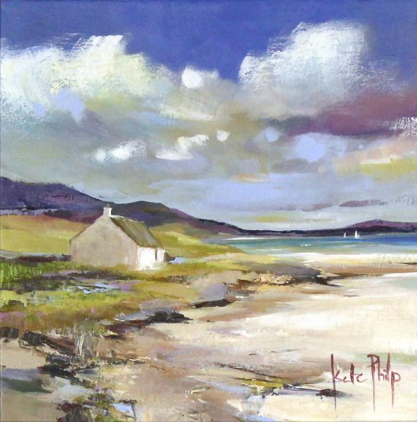 Kate Philp_Original_Cottage On The shore, Berneray_image 10x10_acrylic