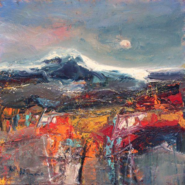Nael Hanna_Original Mixed Media on Board_ Road to Loch Lomond_24x24 unframed