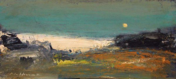 Nael Hanna_Original Mixed Media on Board_ Seashore by Carnoustie_8 x 16.5 unframed _ 15 x 13.5 framed