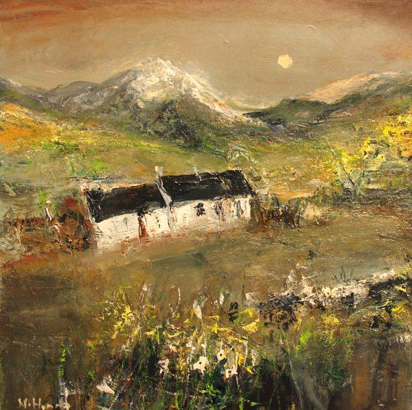 Nael Hanna_Original Mixed Media on Board_Blackrock Cottage,Scottish Highlands I_21x21 unframed _28x28 unframed