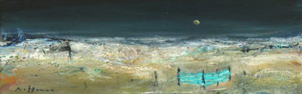 Nael Hanna_Original Mixed Media on Board_Scottish Summer_19x 6.5 _26 x 13.5 framed