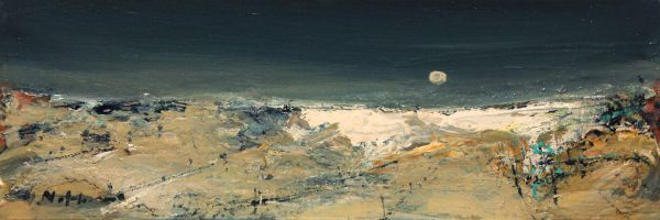 Nael Hanna_Original Mixed Media on Board_Walking on Monifieth Beach_19 x 6.5 unframed_26 x 13.5 framed