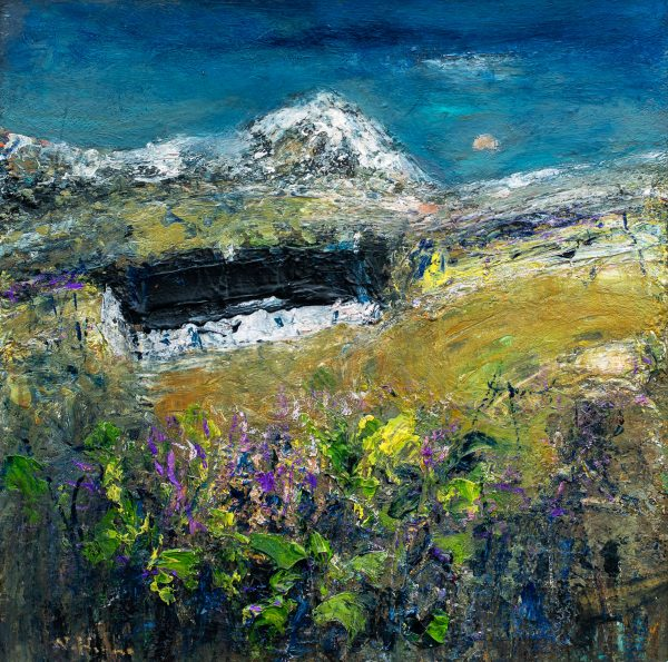 Nael Hanna_Original_Mixed Media on Board_Blackrock Cottage Scottish Highlands II_21x21unframed_28x28 unframed