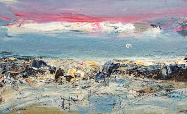Nael Hanna_Original_Mixed Media on Board_Pink skies, Fife_26x16 unframed