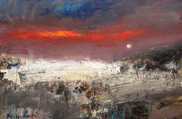 Nael Hanna_Original_Mixed Media on Board_Summer Night with Washed Creels, Angus_35 x 24unframed