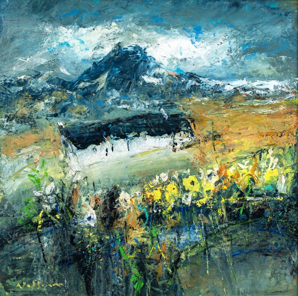 Nael Hanna_Original_Mixed Media on Board_The Croft Garden, Glencoe_20x20unframed_27x27 unframed