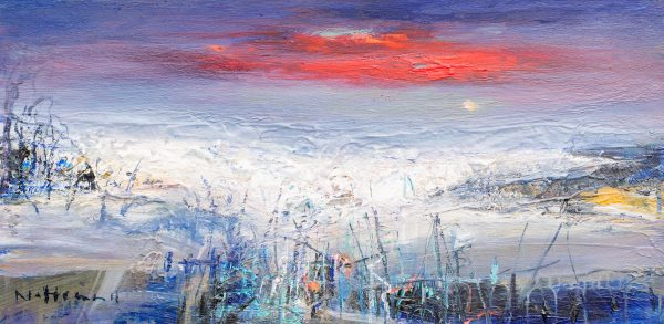 Nael Hanna_Original_Mixed Media on Board_Walking the Shoreline, Ullapool_24 x 12 unframed