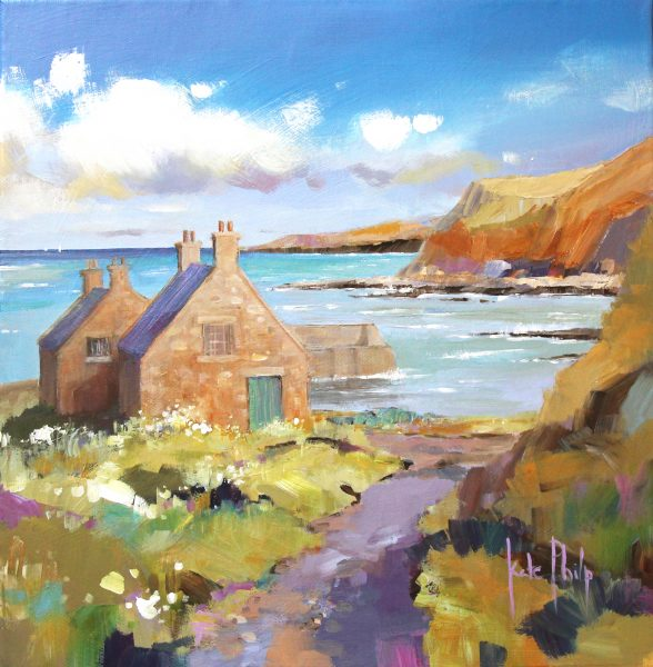 Kate Philp, Fisherman's cottages, Cove, 12x12, £295