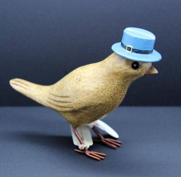 garden bird blue hat